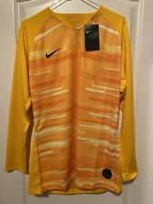 Nike Promo GK Goalkeeper Jersey Shirt Yellow Sz Medium Aq5325 739 No Padding