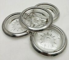 Glass Coasters Silverplate Trim by Leonard Italy Furniture Slides Drink Coaster