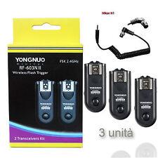 X3 YONGNUO RF-603II N1 TRIGGER REMOTE FLASH/CAMERA NIKON D810 D300 D300s