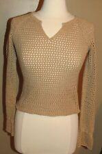 Abercrombie Crochet Cotton Blend Knit V-Neck Brown Sweater Size Large