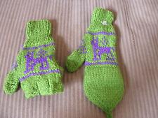 New From Peru Flip Top Mittens Alpaca Llama Design Teen Adult Green #112545
