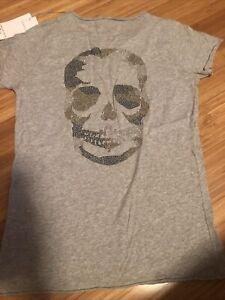 NWT ZADIG & VOLTAIRE Tunisien Sparkling Skull Embellishment T-Shirt Size Sm $108