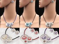 square crystal round leaves lucite pendant leather necklace stud earrings S57