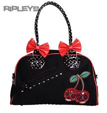 BANNED Clothing PVC Faux Leather Handbag Bows CHERRIES Bag Rockabilly
