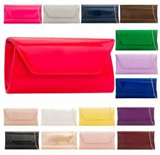 New Women's Shiny Patent Leather Chain Strap Ladies Evening Clutch Bag Purse