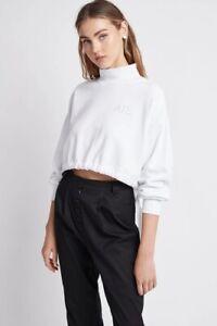 "Minor Defect ""Aje"" Womens Aveline Jumper Cropped Cotton Terry Sweatshirt Top XS"