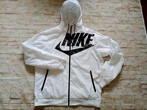 Nike The Windrunner Men's Hooded Full Zip Athletic Running Jacket White L/XL