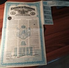 Romania 1922 Kingdom Consolidation £100 Gold Dollars Coupons NOT CANCELLED Bond