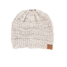 CC C.C Messy Bun Ponytail Beanie Ivory Confetti Soft Stretch Knit Skully Hat