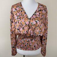 NWT Leyden Pink & Orange Smocked Waist Surplice Top Blouse Women's Size Medium