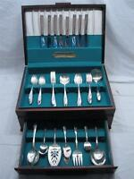 Set 71 pcs Tudor Plate Queen Bess II Silverplate Flatware svc for 8 w/Box
