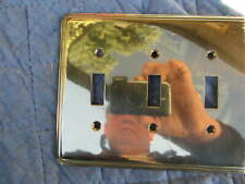 1 Solid Brass, AmerTac, 3 LIGHT SWITCH  COVERS, #N64TT