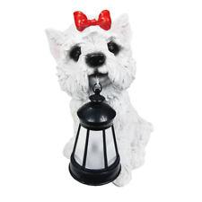 2 Outdoor Garden Solar Maltese Dog Led Lantern Light Post Cap Landscape Lamp