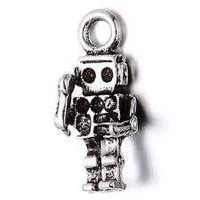 50pcs Wholesale Fashion Antique Silver Zinc Alloy Robot Pendant Fit Rhinestone D
