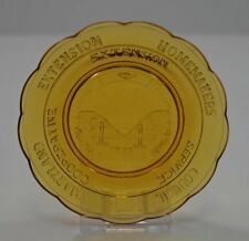 VINTAGE EXTENSION HOMEMAKERS MILLVILLE ART GLASS CUP PLATE AMBER 1983 HEARTH OAK