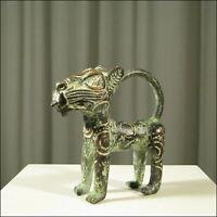 59266) Afrikanischer Bronze Leopard Kamerun Afrika KUNST