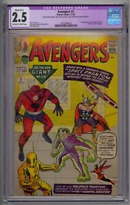 AVENGERS #2 CGC 2.5 1ST SPACE PHANTOM HULK LEAVES AVENGERS UNDER GRADED