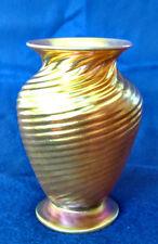 "TIFFANY Old Gold Iridescent, Ribbed Baluster, Favrile, 3.75"" Cabinet Vase 1894"