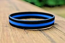 Thin Blue Line Silicone Bracelet Wristband Police Support Law Enforcement