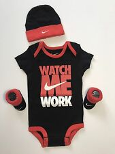 NEW Nike Infant 3 Piece Set Bodysuit Hat & Booties 0-6M Black Red Watch Me