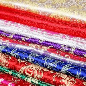 Jacquard Damask Chinese Baby Clothes Kimono Hanfu Brocade Satin Phoenix Fabrics