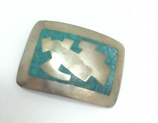 Chip Inlay Belt Buckle Sterling Silv. Vintage Taxco Signed By Hector Turquoise