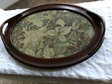 Vintage oval walnut tray with glass top
