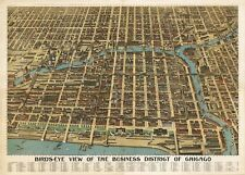MAP AERIAL BIRDS EYE VIEW CHICAGO ILLINOIS 1898 LARGE ART PRINT POSTER LF2543
