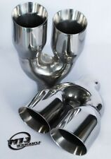 """Pair 3"""" Inch Twin Exhaust Tailpipe Stainless Sport Trim Quality Left & Right Tip"""