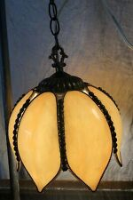 Vintage Tiffany Style Hanging Swag Lamp Ceiling Floral Style Tan Stained Glass