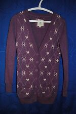 "Women's Heritage 1981 Purple White Heart ""H"" Diamond Cardigan Sweater Size S"