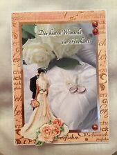 """Glückwunschkarte /""""Zur Hochzeit/"""" Brautpaar*Bride/&Groom*Rosen*Grußkarte Herzen"""
