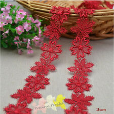 2 METRES Beautiful Red Flowers Venise Lace Trim 3 cm W Makes Gorgeous appliques.