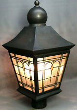 Stained Glass Outdoor Electric Post Light - ( Lamp Head ) lighting lampost vtg