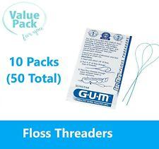 50 Sunstar GUM 840 Eez-thru floss threaders - 10 packs of 5 each - BEST DEALl!