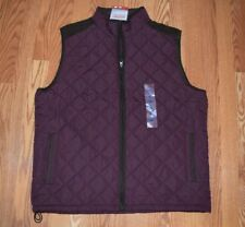 NWT MENS COLEMAN Cordovan Burgundy Brown Quilted Vest Size SMALL