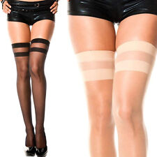 Striped Thigh High Opaque/Sheer Solid Color Stockings Tights Over The Knee OS US