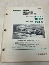 1949 Flight Operating Instructions B-25J TB-25J and PBJ-1J