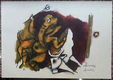 "India MF Husain Ashtavinayak Ganesha 17"" x 22"" hand autographed serigraph D"