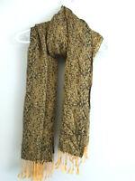 Women's Winter Fashion Fringe Scarf  Warmer  Gold Black   Knit Warm