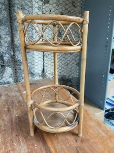 Vintage Round Brown Bamboo Plant Stand Side Table Tiki
