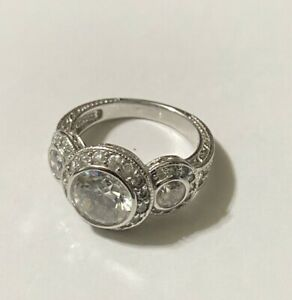 Sterling Silver Diamonique CZ Cocktail Ring - Size 6