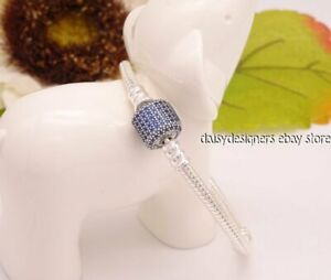 NEW Authentic Pandora Silver BLUE PAVE Bracelet 23 9.1 590723NCB RETIRED