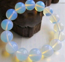 Beautiful 12mm Natural Australian White Opal Round Beads Elastic Bracelet 7.5''