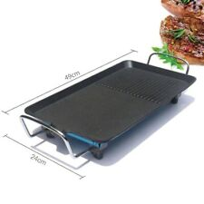 Korean Style Electric BBQ Grill Tray Baking Pan Non Stick Smokeless Hot Plate