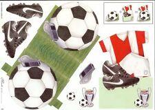 Fútbol Stand Up 3D hoja de papel de elaboración de Tarjetas Manualidades Decoupage * Corte * NECESARIO