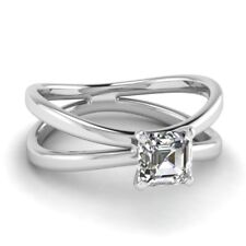 GIA Certified Solitaire Diamond Engagement Ring 1.00 Carat Asscher Cut 18k