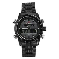 Military Men's Dual Time Waterproof Stainless Steel Quartz Analog Wrist Watch