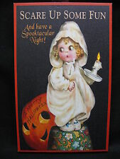 Halloween Lighted Canvas Wall Decor Sign Pumpkin Art On Off Switch New Candle