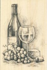 Grapes Wine & Cheese grapes  INKADINKADO RUBBER STAMP w/m Free Shipping  NEW
